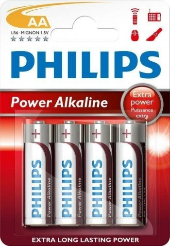 BLISTER 4 PILAS PHILIPS POWER ALKALINE LR6 AA
