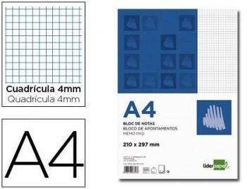 BLOC NOTAS LIDERPAPEL CUADRO 4MM A4 80 HOJAS 60G/M2 COD 3343