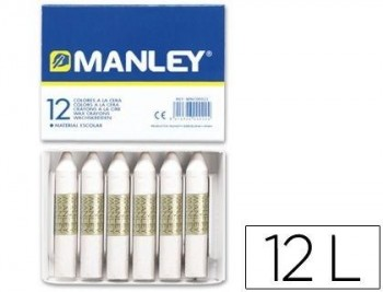 LAPICES CERA MANLEY UNICOLOR BLANCO N.1 CAJA DE 12 UNIDADES COD. 22245