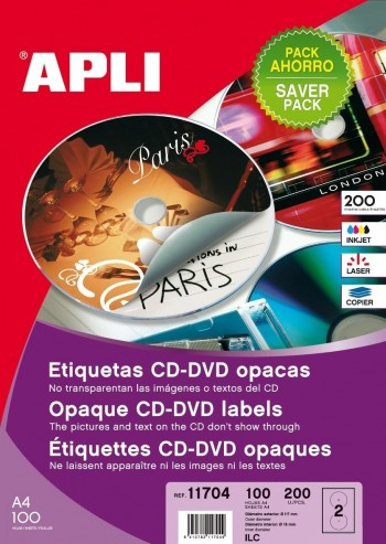 C/ 100 ETQUETAS CD-DVD DORSO OPACO   117MM APLI RF. 11704