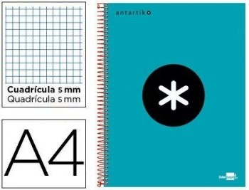 CUADERNO ESPIRAL LIDERPAPEL A4 MICRO ANTARTIK TAPA FORRADA 120H 100 GR CUADRO 5MM 5 BANDAS 4 TALADRO