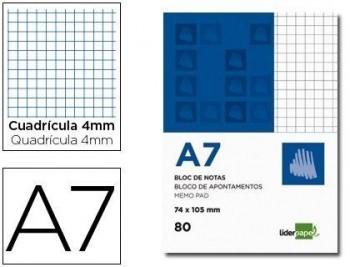 BLOC NOTAS LIDERPAPEL CUADRO 4MM A7 80 HOJAS 60G/M2 PERFORADO COD 2608