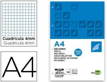 RECAMBIO LIDERPAPEL A4 100 HOJAS 100G/M2 CUADRO 4MM CON MARGEN 4 TALADROS COD 47116