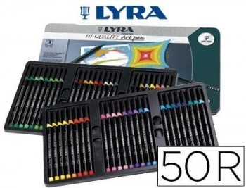 ROTULADOR LYRA HI QUALITY ART PEN CAJA METALICA 50 COLORES SURTIDOS COD 57057
