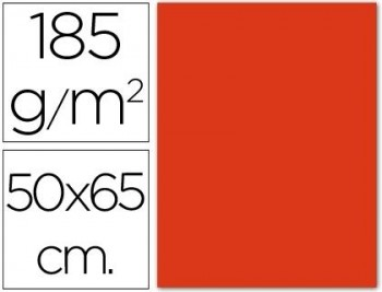 CARTULINA 50X65 185 G. ROJO TOMATE