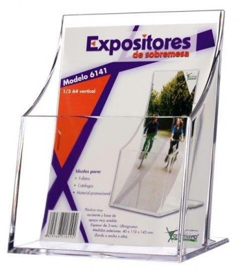 EXPOSITOR PORTAFOLLETOS 1/3 DIN A4 VERTICAL ESPESOR 3MM MOD 6141 TP CS ARCHIVO 2000