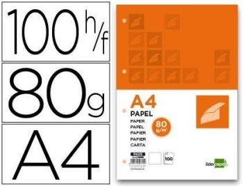 PAPEL LIDERPAPEL A4 80G /M2 PAQUETE DE 100 4 TALADROS BLANCO LISO COD. 50315