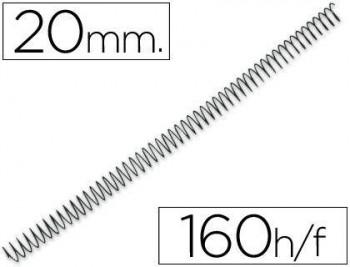 C/ 100 ESPIRALES METALICOS Nº 20 PASO 64 5:1 NEGRO GBC