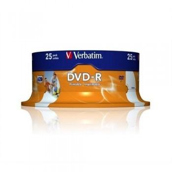 VERBATIM DVD-R 4.7GB 16X BOBINA 25 IMPRIMIBLE INKJET SUPERFICIE BLANCA 120 MINUTOS ADVANCED AZO