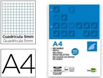RECAMBIO LIDERPAPEL A4 100 HOJAS 100G/M2 CUADRO 5MM CON MARGEN 4 TALADROS COD 29104