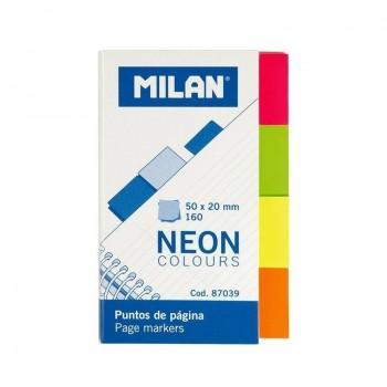 P/ 160 BANDERITAS MILAN  20X50MM PACK DE 4 COLORES NEON