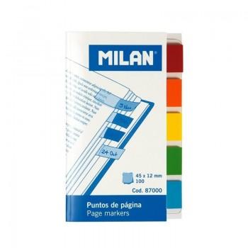 P/ 100 BANDERITAS MILAN  12X45MM PACK DE 5 COLORES