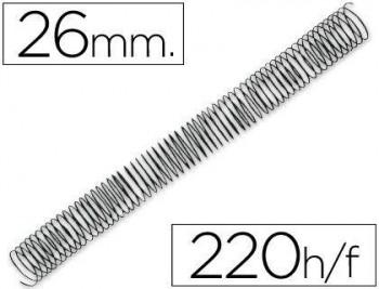 C/ 50 ESPIRALES METALICOS Nº 26 PASO 64 5:1 NEGRO GBC