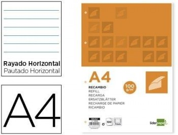 RECAMBIO LIDERPAPEL A4 100 HOJAS 100G/M2 HORIZONTAL CON DOBLE MARGEN 4 TALADROS COD 29105