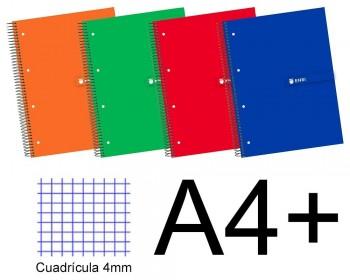 CUADERNO TAPA EXTRADURA A4+ 160 H. CUADROS 5X5 ENRI COLORES SURTIDOS