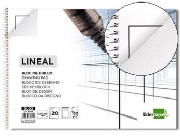 BLOC DIBUJO LIDERPAPEL LINEAL ESPIRAL 230X325MM 20 HOJAS 130G/M2 CON RECUADRO PERFORADO