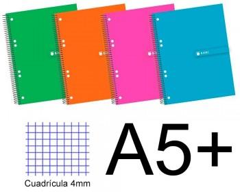 CUADERNO TAPA EXTRADURA A5+ 140 H. CUADROS 5X5 ENRI COLORES SURTIDOS