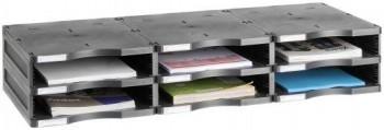 ARCHIVADOR MODULAR ARCHIVO 2000 ARCHIVODOC 6532 TRIO ESTANDAR 6 CASILLAS NEGRO 900X360X165 MM