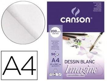 BLOC DIBUJO MULTITECNICAS CANSON IMAGINE DIN A4 ENCOLADO LISO 21X29,7 CM 50 HOJAS 200 GR COD 64842