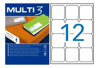 C/ 100 HOJAS ETIQUETAS 63,5X 72,0 MULTI 3 REF 10493