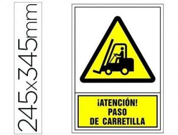 PICTOGRAMA SYSSA SEÑAL DE ADVERTENCIA ATENCION! PASO DE CARRETILLA EN PVC 245X345 MM COD 76020