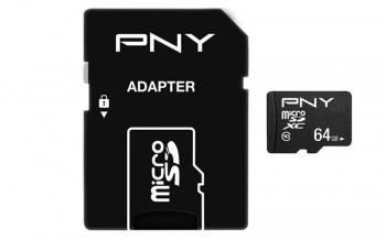 PNY - TARJETA MICROSD 64GB PERFORMANCE PLUS + ADAPTADOR - CLASE 10