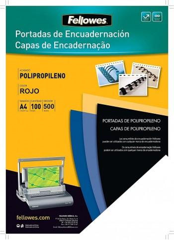 P/ 100 TAPAS ENCUADERNAR PLASTICO DURO 0.5 ROJO A-4 FELLOWES
