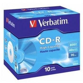 PACK 10 CD-R VERBATIM 800MB 40X JEWEL CASE 10 HIGH CAPACITY