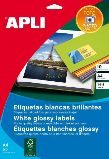 PAQUETE 10 HOJAS ETIQUETAS BLANCAS CALIDAD FOTO 199,6 X 289,1 MM APLI 02926