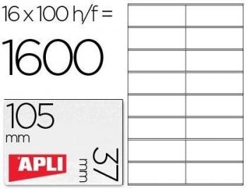 C/ 100 H. ETIQUETAS BLANCAS ILC 105,0 X 37,0 APLI RF 1274
