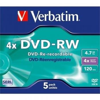 PACK 5 DVD-RW 4.7GB 4X MATT SILVER VERBATIM 43285
