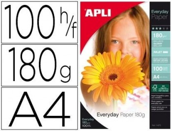 P/ 100 HOJAS PAPEL FOTOGRAFICO A4 EVERYDAY 180 GRS APLI  RF. 11475
