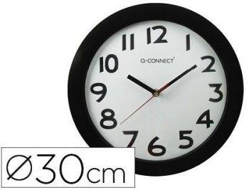 RELOJ Q-CONNECT DE PARED PLASTICO OFICINA REDONDO 30 CM MARCO NEGRO COD. 22367