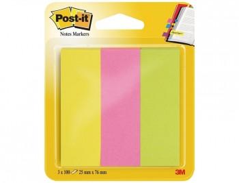 BLOC DE NOTAS ADHESIVAS QUITA Y PON POST-IT 671/3 MININOTAS ROSA/VERDE/AMARILLO NEON COD. 34912