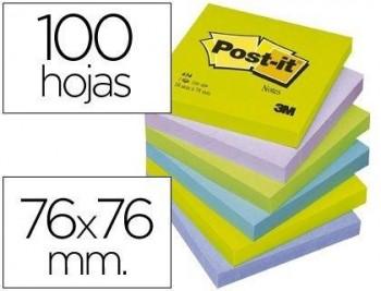 BLOC DE NOTAS ADHESIVAS QUITA Y PON POST-IT 76X76 MM ULTRA INTENSO SURTIDO PACK DE 6 BLOCS COD. 2938